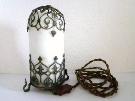 古い 真鍮 乳白ガラス 電笠 照明 アンティーク